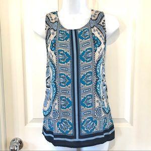 Cynthia Rowley Blue White Sleeveless Top Blouse S